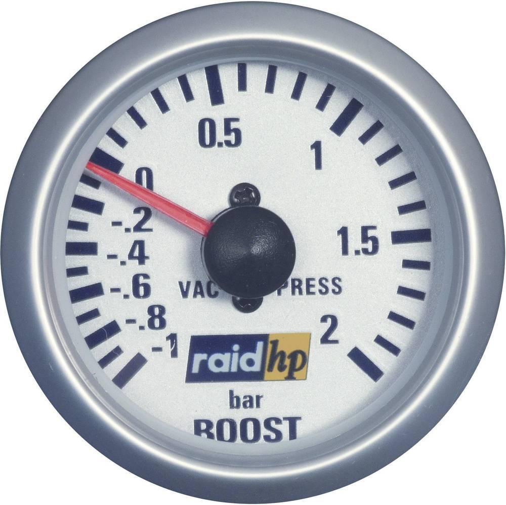 Bil indbygningsinstrument Turbotryk-visning måleområde -1 - 2 bar raid hp 660218 Sølv-serie Blå-hvid 52 mm