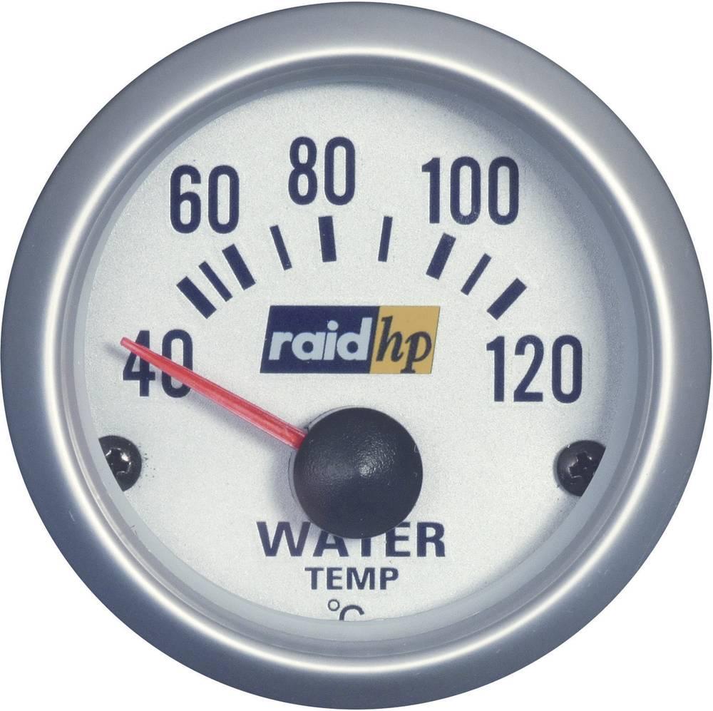 Bil indbygningsinstrument Vandtemperatur-visning måleområde 40 - 120 °C raid hp 660220 Sølv-serie Blå-hvid 52 mm