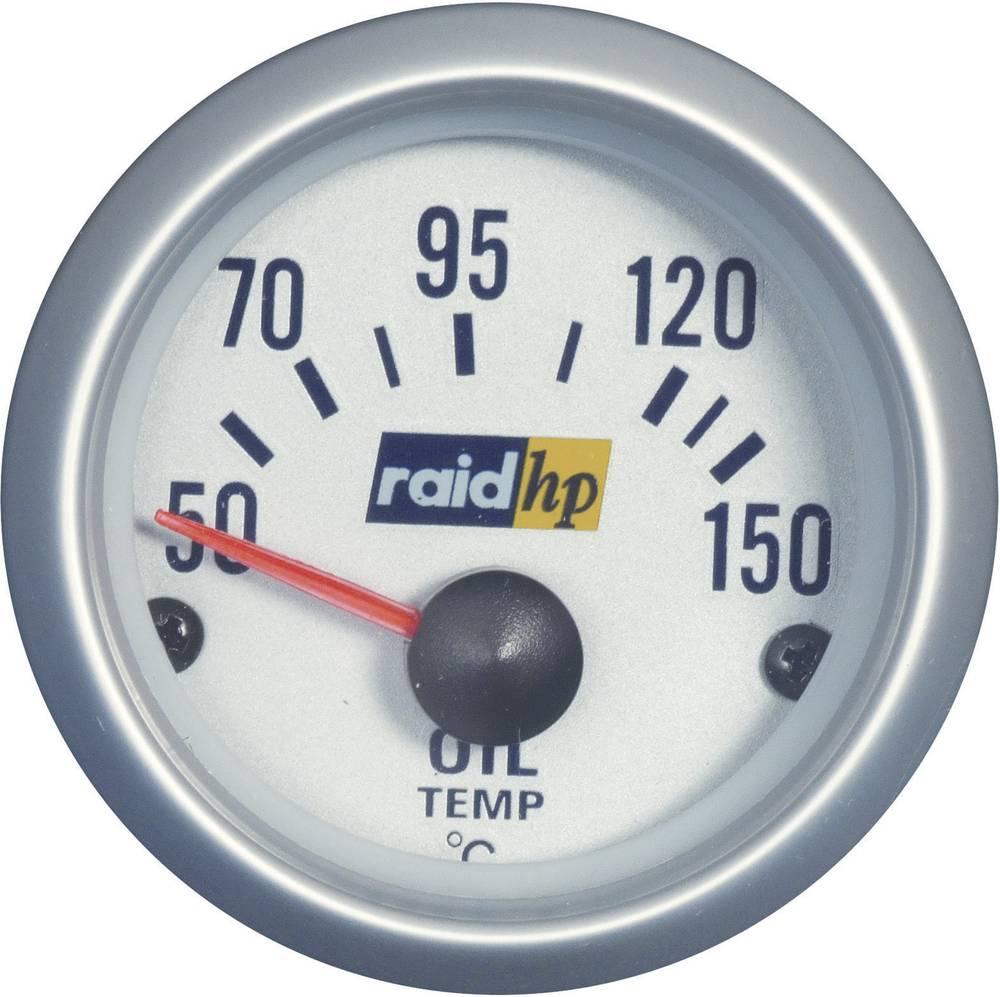 Bil indbygningsinstrument Olietemperatur-visning måleområde 50 - 150 °C raid hp 660221 Sølv-serie Blå-hvid 52 mm