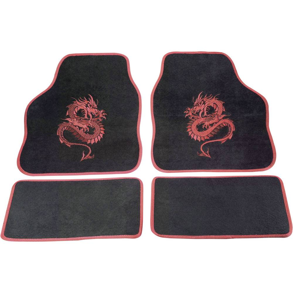 Universal Car Seat Cover Mat Set Red Dragon