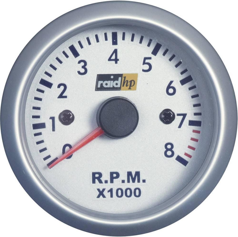 Bil indbygningsinstrument Omdrejningsmåler benzinmotor måleområde 0 - 8000 rpm raid hp 660266 Sølv-serie Blå, Hvid 52 mm