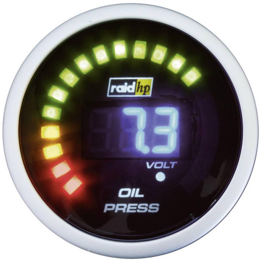 Bil indbygningsinstrument Olietryk-visning måleområde 0 - 7 bar raid hp 660501 NightFlight Digital Blue Blå, Hvid 52 mm