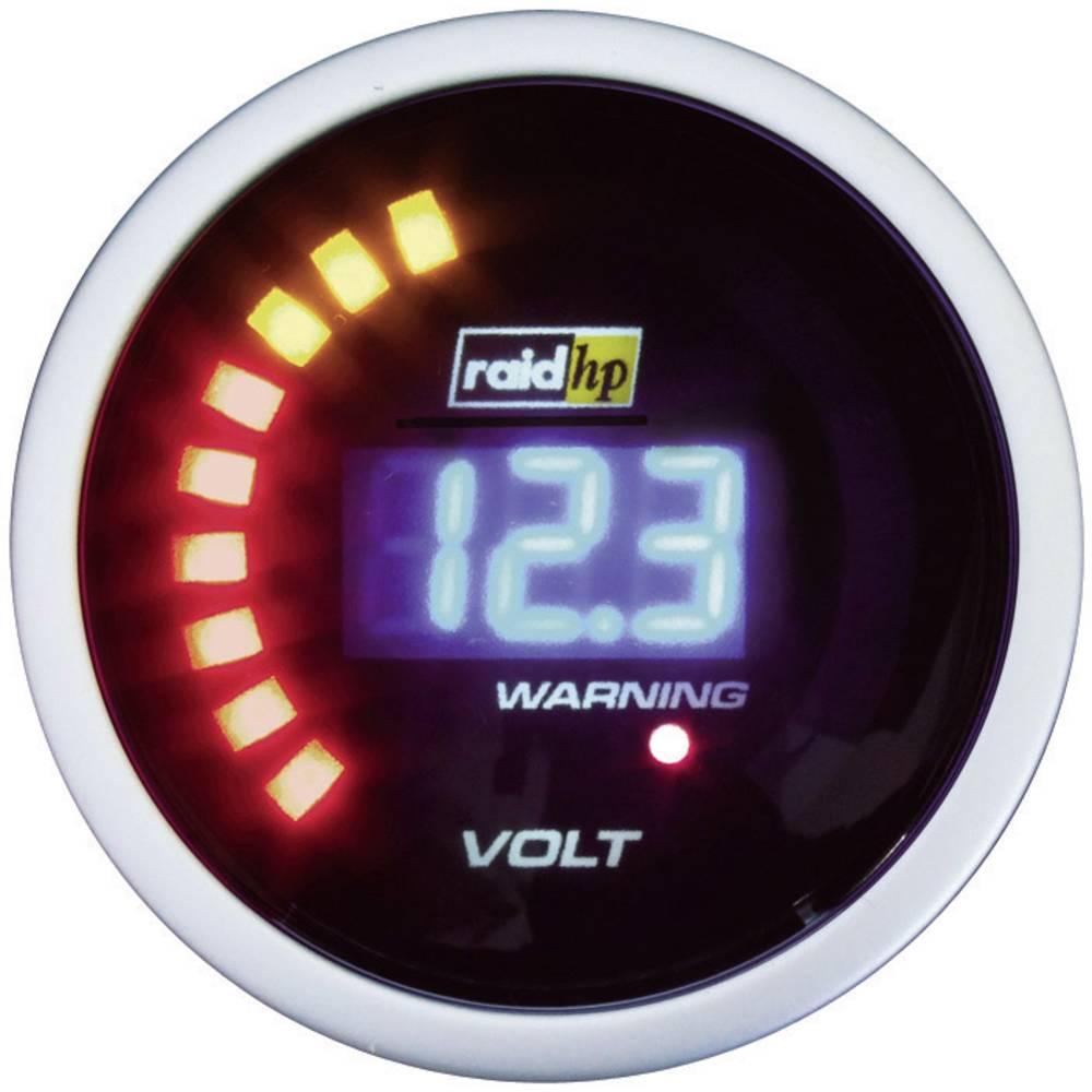 Bil indbygningsinstrument Voltmeter måleområde 8 - 18 V raid hp 660504 NightFlight Digital Blue Blå, Hvid 52 mm