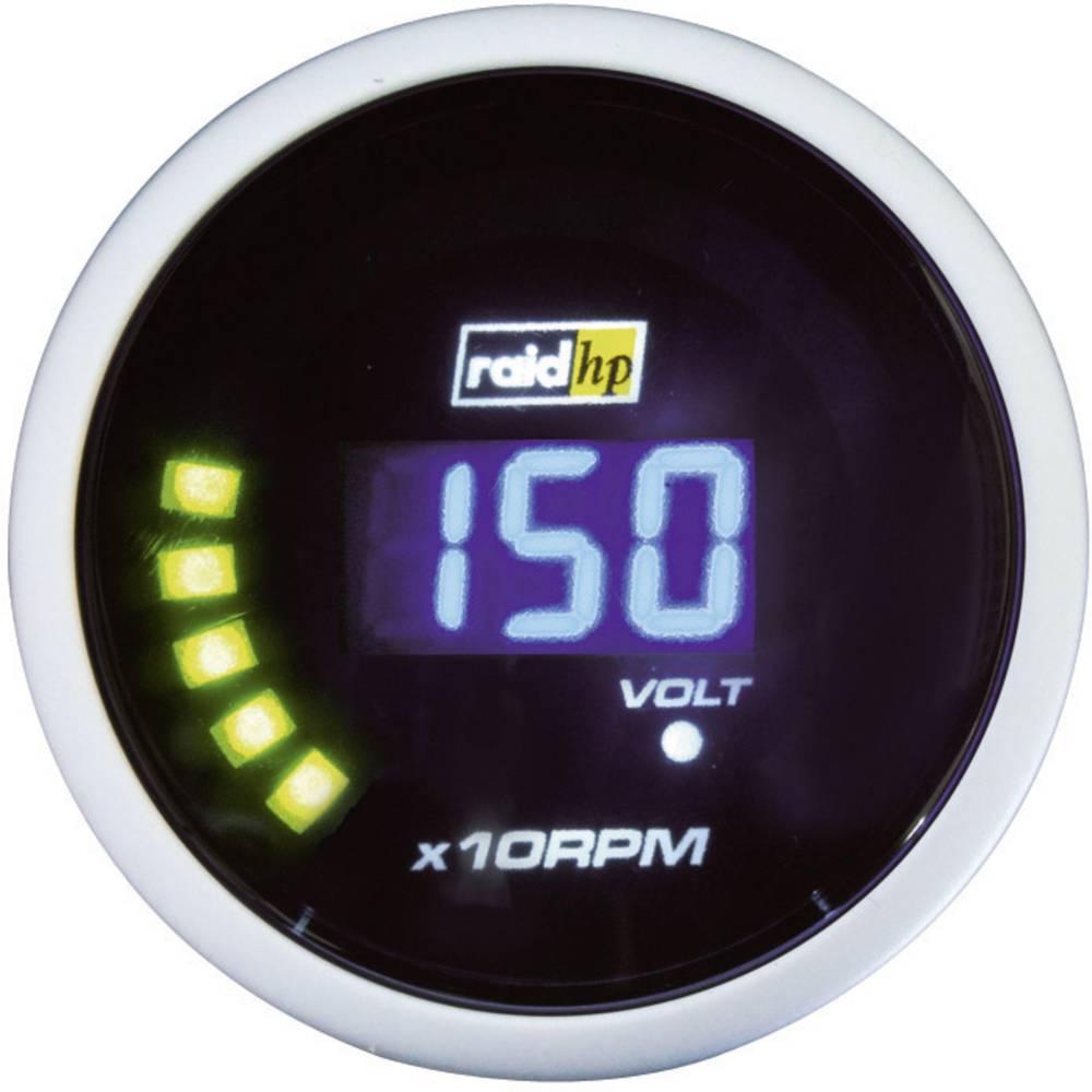 Bil indbygningsinstrument Omdrejningsmåler benzinmotor måleområde 0 - 10000 rpm raid hp 660505 NightFlight Digital Blue Blå, Hvi