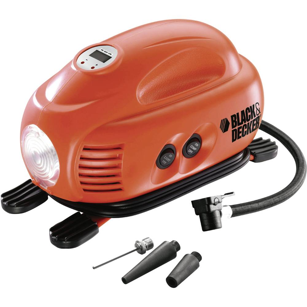 Kompressor 8 bar Black & Decker ASI200-XJ Automatisk slukning, Med arbejdslampe, Ledningsrum/-optagelse, Digitalt display