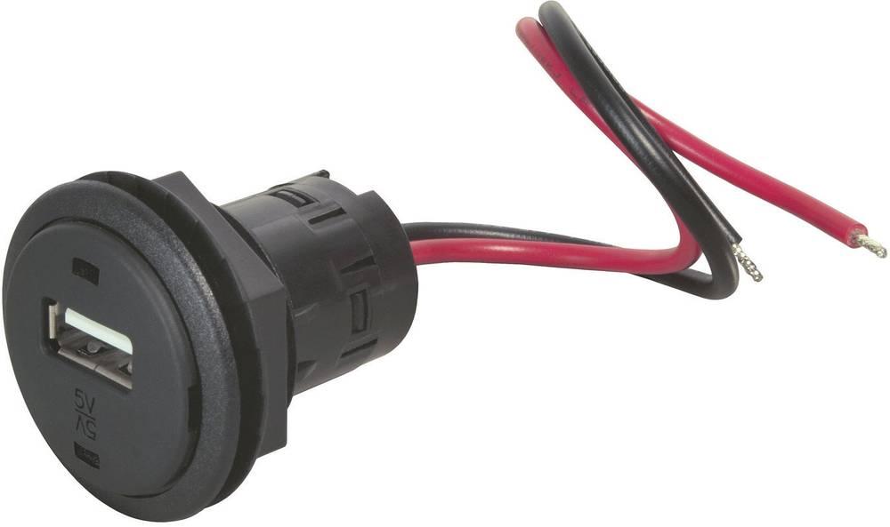 Stikdåse Indbygning, spændemuffe ProCar 67311501 12 V til 5 V 1 A Kabel afisoleret