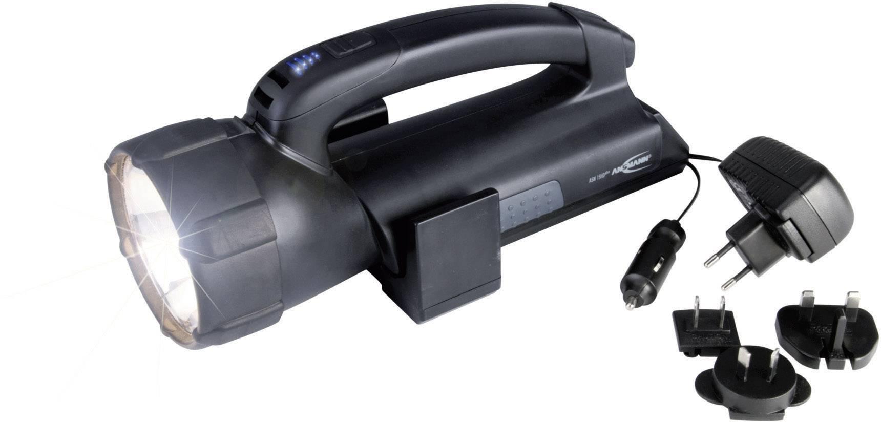 ansmann 5102143 cordless handheld searchlight asn 15hd plus black hv halogen led 6 h. Black Bedroom Furniture Sets. Home Design Ideas