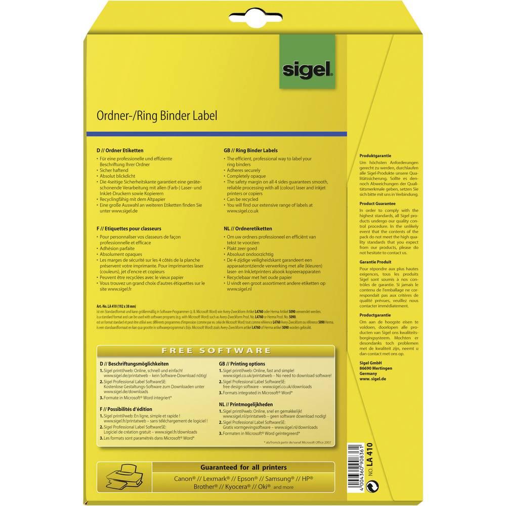 sigel ring binder labels la410 175 pc s n a suitable for ink