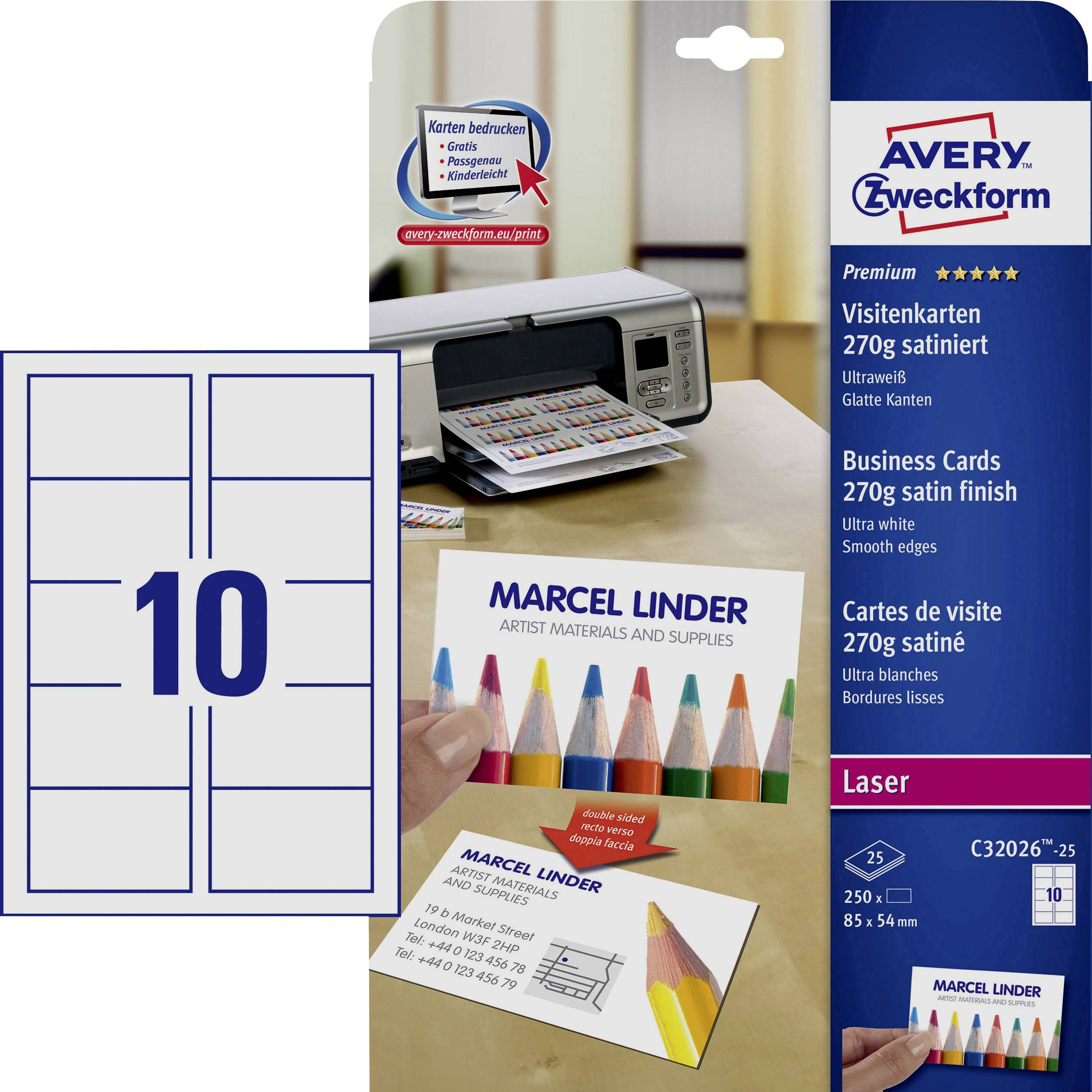 Avery Quick/&Clean - Business cards - white - 200 g//m2-25 pcs. 250