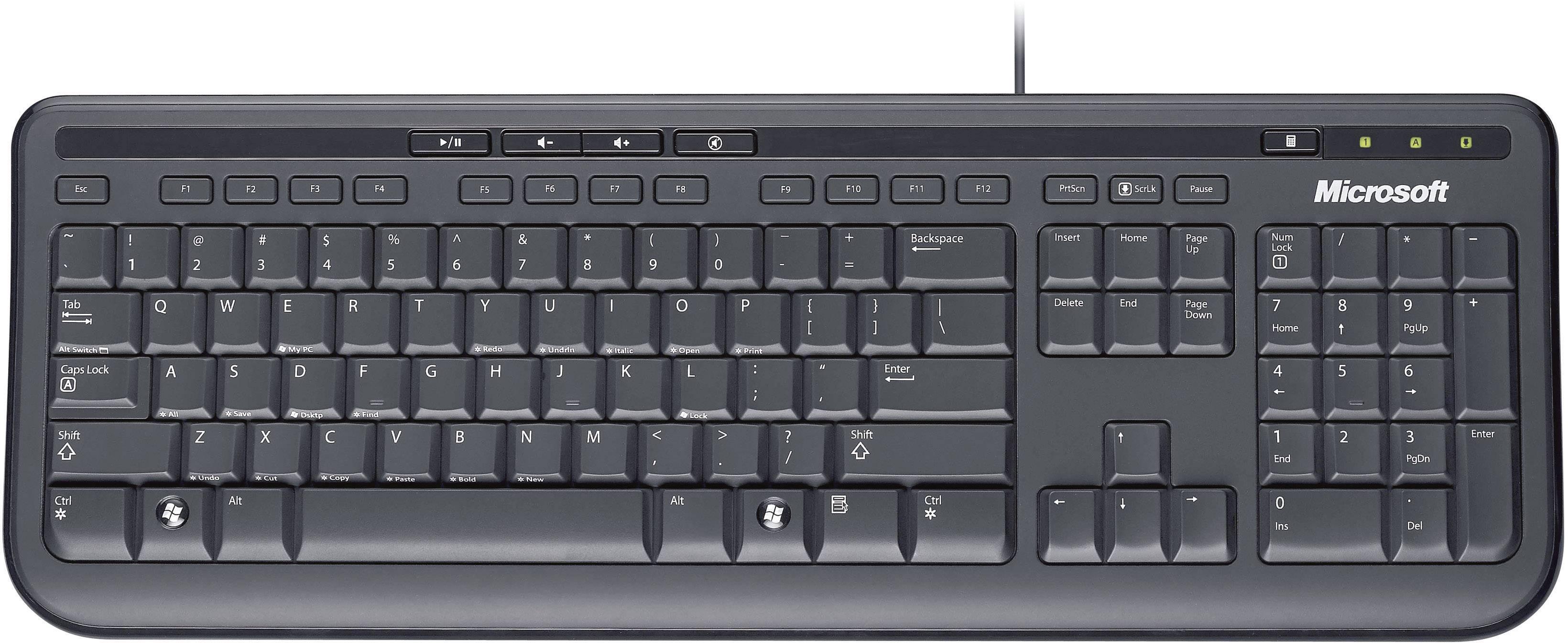 05e6e3d1bee Microsoft WIRED KEYBOARD 600 USB keyboard Black Splashproof | Conrad.com