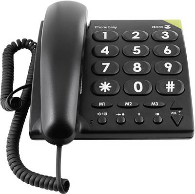Image of Corded Big Button doro PhoneEasy 311c Visual call notification, Hands-free No display Black