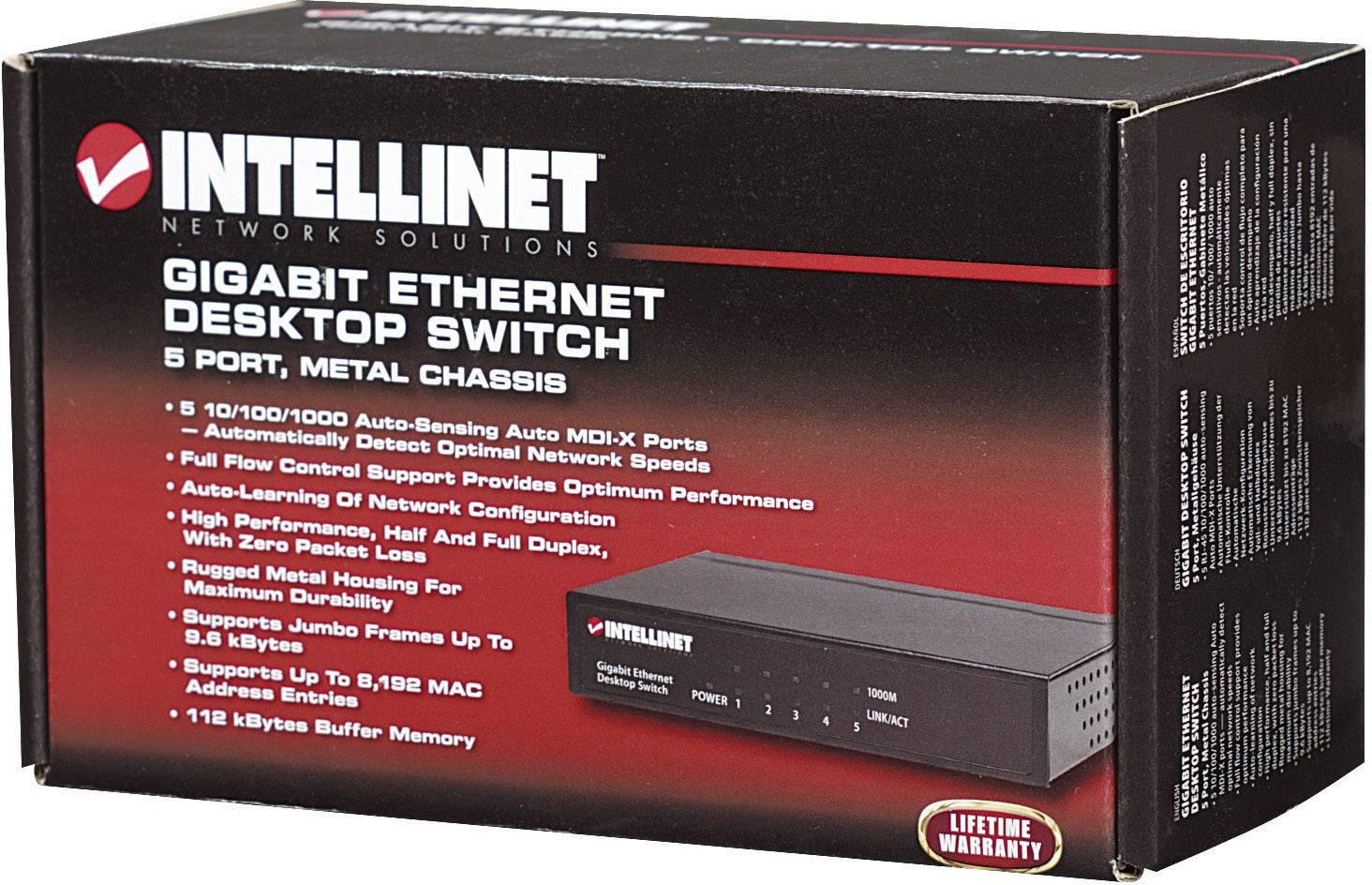 Intellinet 5-Port Gigabit 10//100//1000 Mbps Ethernet Desktop Switch 530378