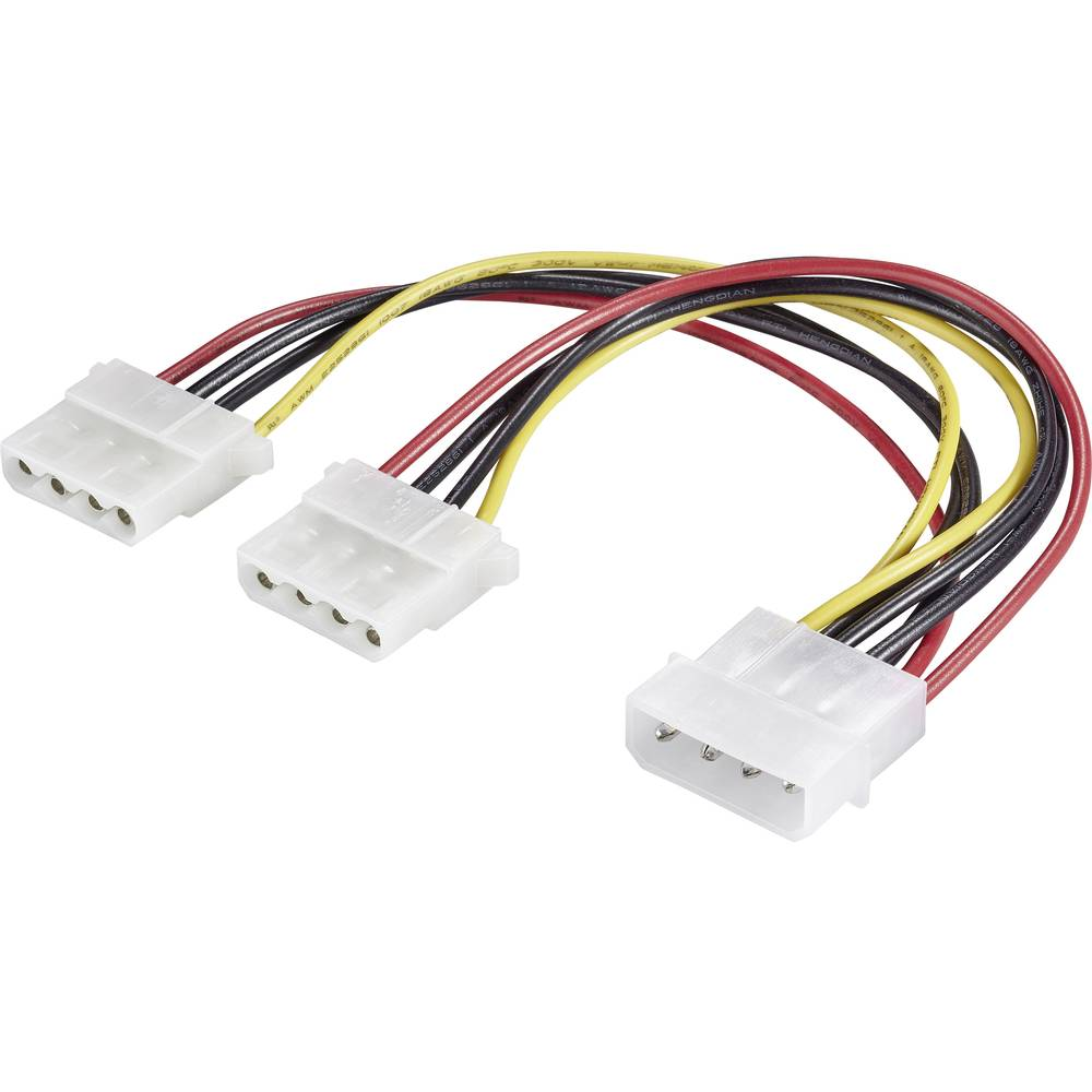 Strujni produžni kabel [1x IDE strujni utikač 4-pol. - 2x IDE strujna utičnica 4-pol.] 0.20 m crna, crvena, žuta Renkforce