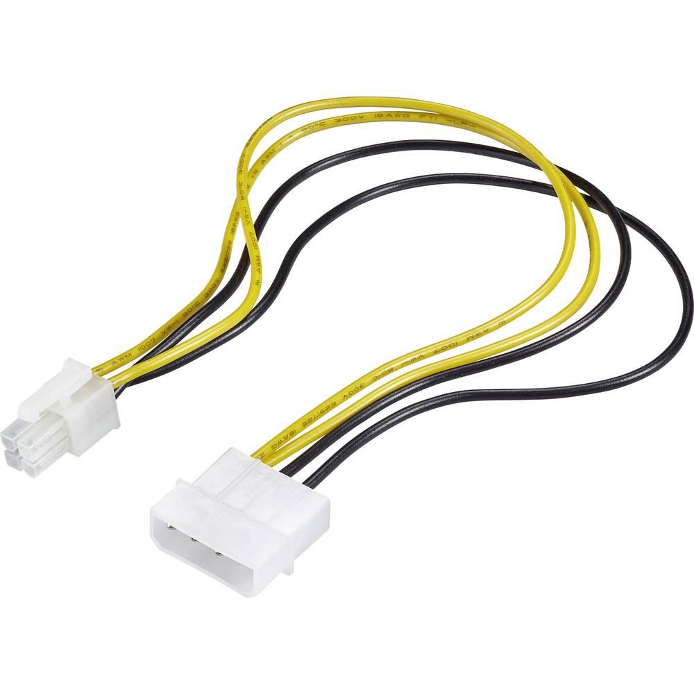 Strujni priključni kabel [1x ATX-utikač 4pol. - 1x IDE-strujni utikač 4pol.] 0.30 m žuti-crni Renkforce