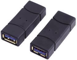 USB 3.0 Adapter LogiLink guldpläterad kontakt [1x USB 3.0 A hona - 1x USB 3.0 A hona] Svart