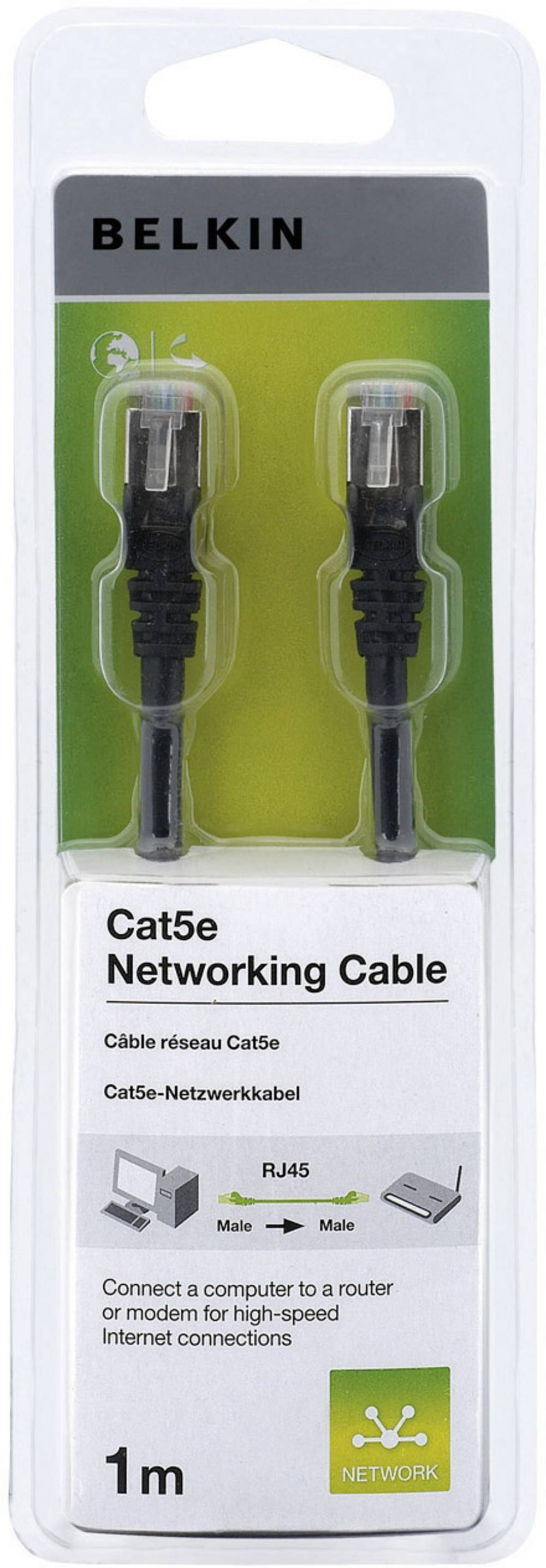 Omrežni kabel RJ45 Belkin, CAT5e, F/UTP, črne barve, 1 m A3L791cp01MBKHS