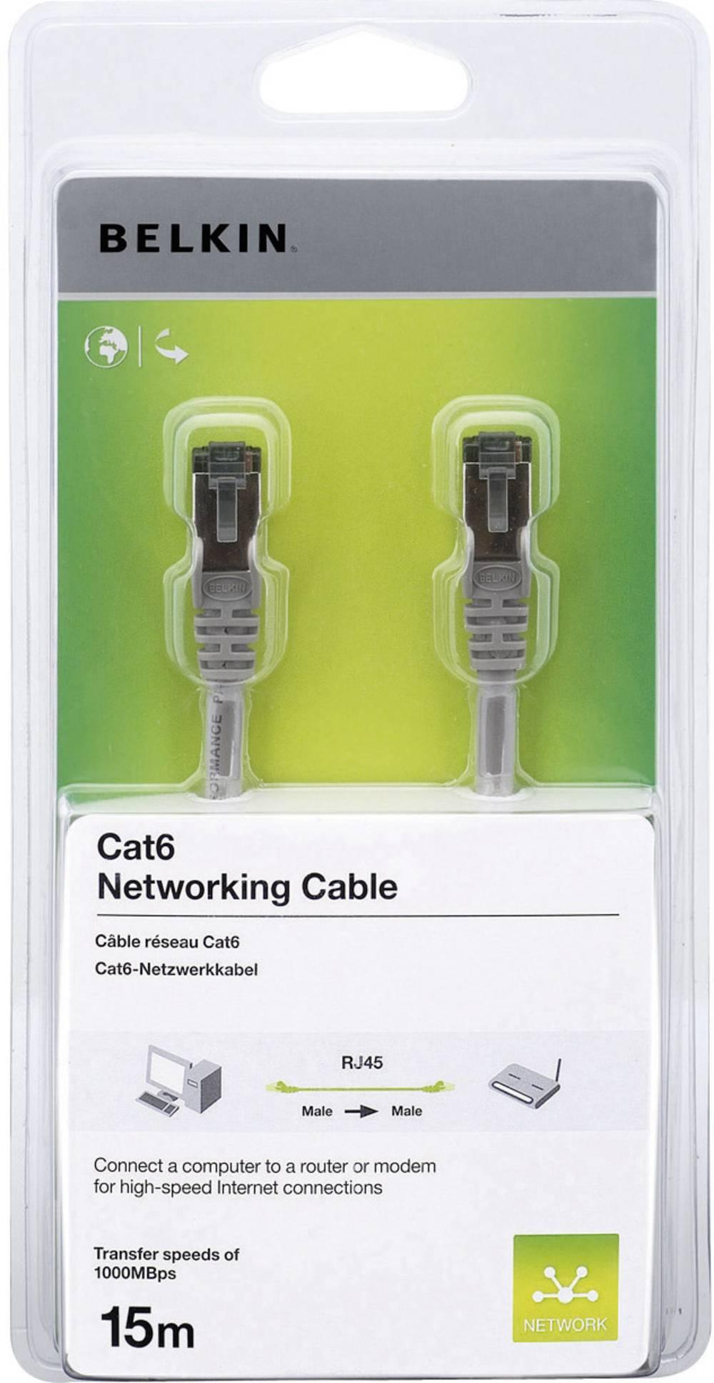 Omrežni kabel RJ45 Belkin, zaščita pred zlomom jezička, CAT6, F/UTP, sive barve, 15 m A3L980cp15M-H-S