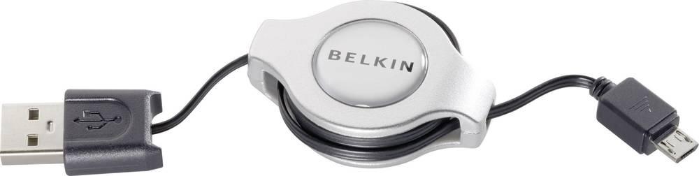 USB 2.0 Anslutningskabel Belkin [1x USB 2.0 A hane - 1x USB 2.0 Micro-B hane] inkl. rulle 1 m Svart
