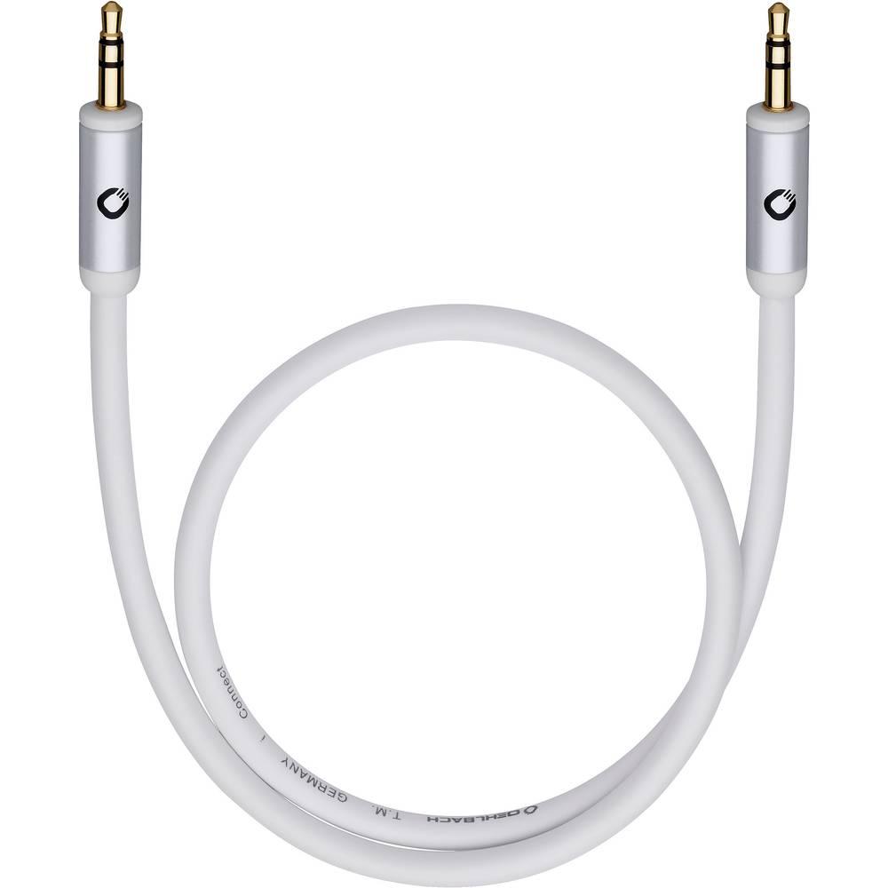 Klinken avdio priključni kabel [1x klinken vtič 3.5 mm - 1x klinken vtič 3.5 mm] 5 m bele barve, pozlačeni vtični kontakti