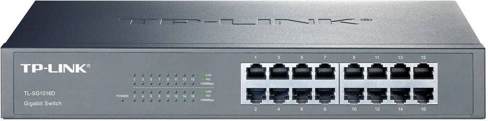 16-vratno gigabitno omrežno stikalo TP-Link TL-SG1016D s kovinskim ohišjem
