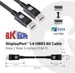 Câble Club 3D DisplayPort 1.4 HBR3 8K mâle/mâle 3 m