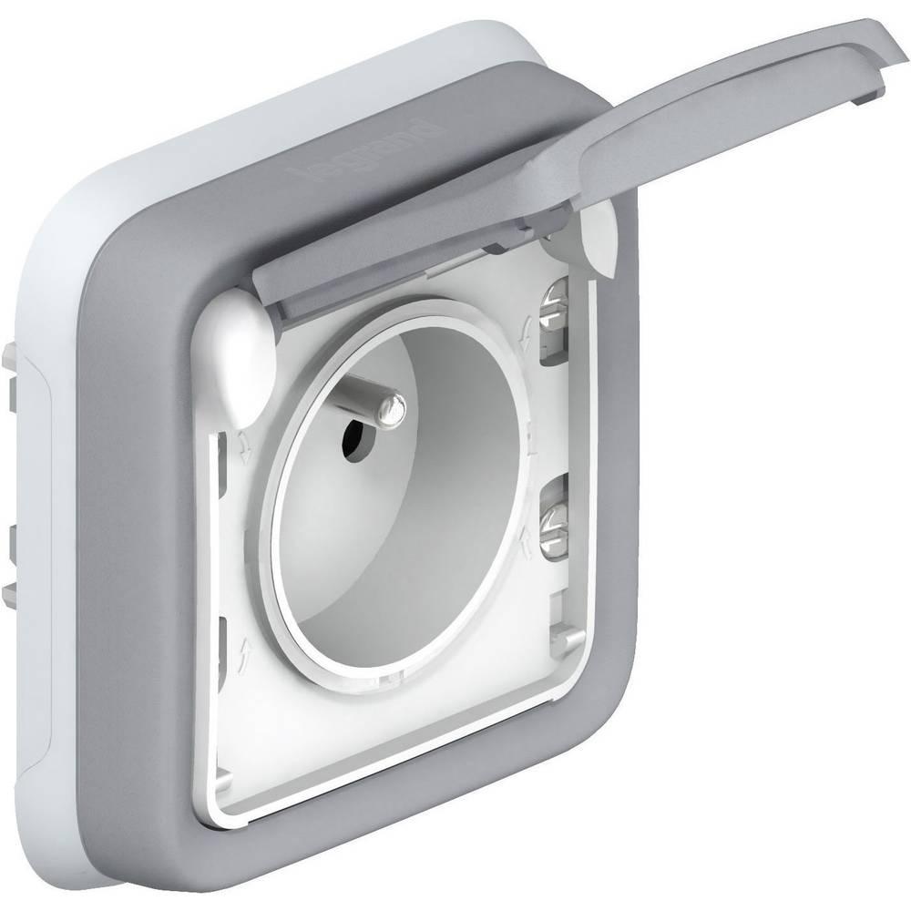 prise de courant 2p t 16a 250v plexo legrand 0 698 31 gris blanc