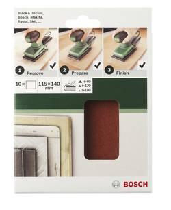 Papier abrasif pour ponceuse vibrante non perforé Bosch Accessories 2609256B16 Grain 120 (L x l) 140 mm x 115 mm 10 pc(
