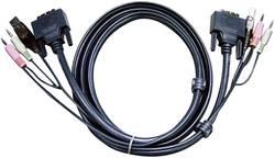 Câble de raccordement KVM ATEN [2x Jack mâle 3.5 mm, DVI mâle 18+1 pôles, USB 2.0 type A mâle - 2x Jack mâle 3.5 mm, DVI