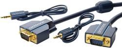 Câble de raccordement clicktronic 70134 [1x VGA mâle, Jack mâle 3.5 mm - 1x VGA mâle, Jack femelle 3.5 mm] 10 m bleu