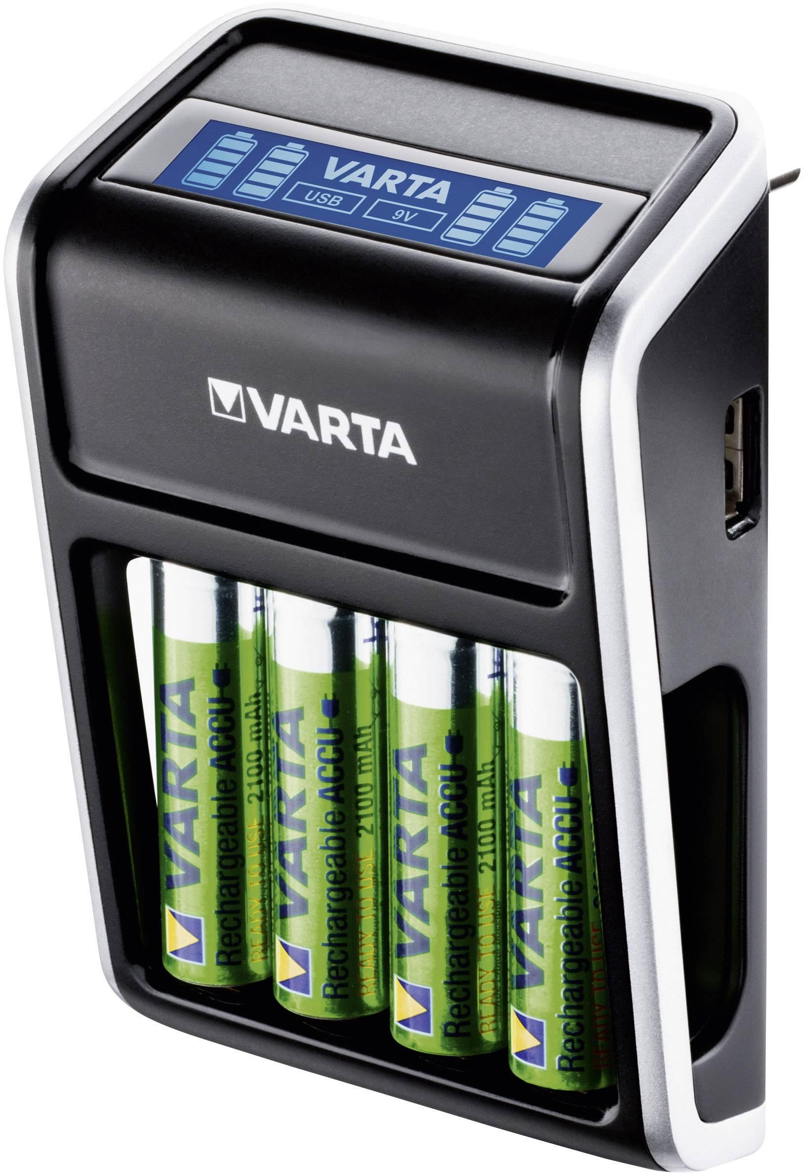 Chargeur de piles rondes NiMH avec accus Varta LCD Plug