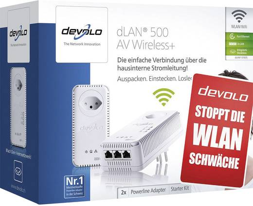 kit de d marrage cpl wifi devolo dlan 500 av wireless 500 mo s. Black Bedroom Furniture Sets. Home Design Ideas