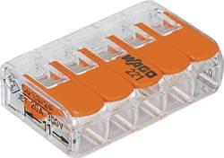 Borne pour boîte de dérivation WAGO 221-415 Nombre total de pôles: 5 transparent, orange flexible: 0.14-4 mm² rigide: 0