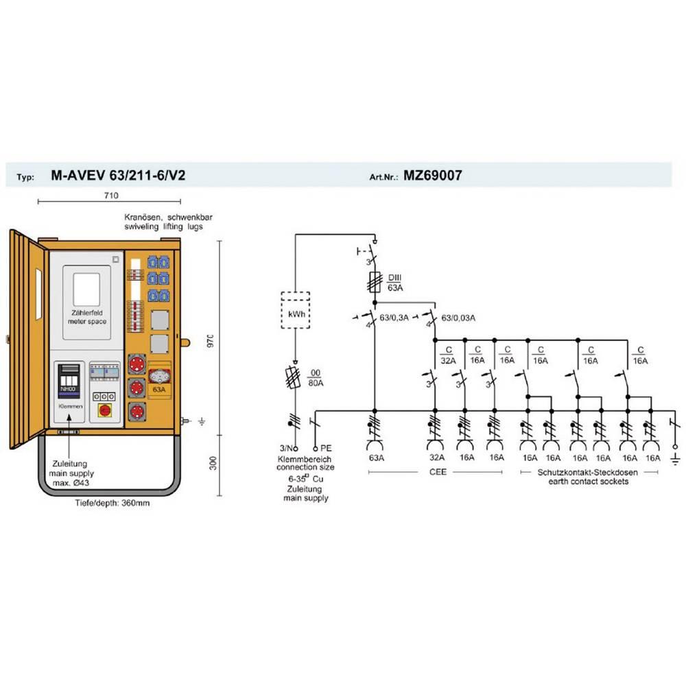 armoire de raccordement pce merz m avev 63 211 6 v2 mz69007 400 v 63 a sur le site internet. Black Bedroom Furniture Sets. Home Design Ideas