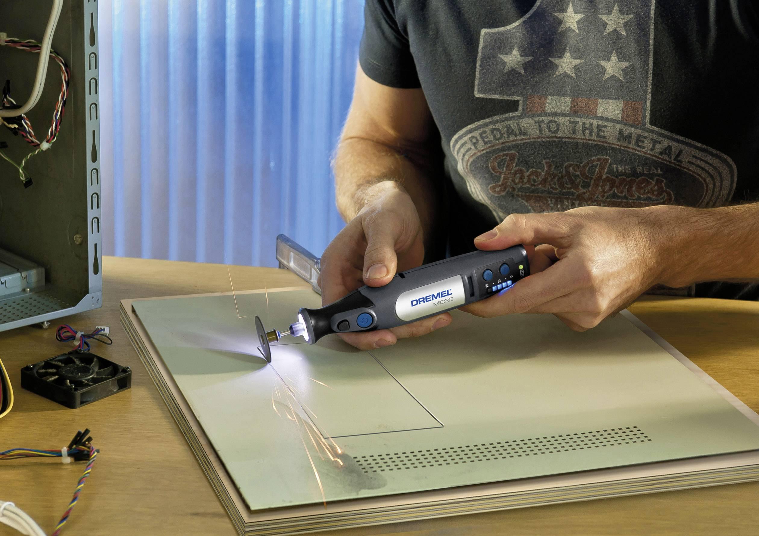 Outil multi usage sans fil Dremel Micro 8050 35 F0138050JE + batterie, + accessoires, + housse 37 pièces 7.2 V 1 Ah 1 s