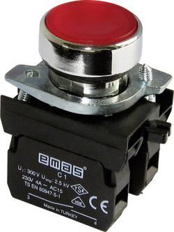 Bouton-poussoir à rappel actionneur plat, collerette métal, avec élément de contact rouge EMAS CM100DK 1 pc(s)