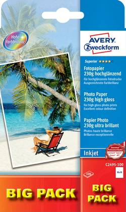 Papier photo Avery-Zweckform Superior Photo Paper Inkjet 10 x 15 cm 230 g/m² 100 feuille(s) ultra-brillant