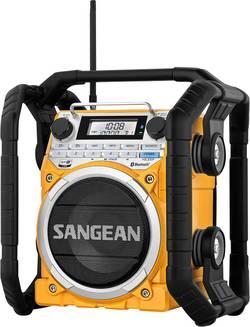 Radio de chantier FM Sangean U4 jaune fonction de charge de la batterie, protégé contre les projections d'eau, étanche à