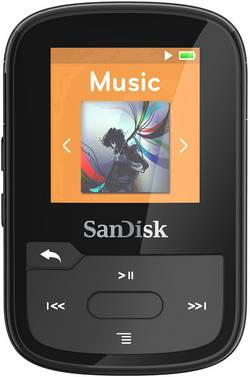 SanDisk Lecteur MP3 16 Go noir clip de fixation,