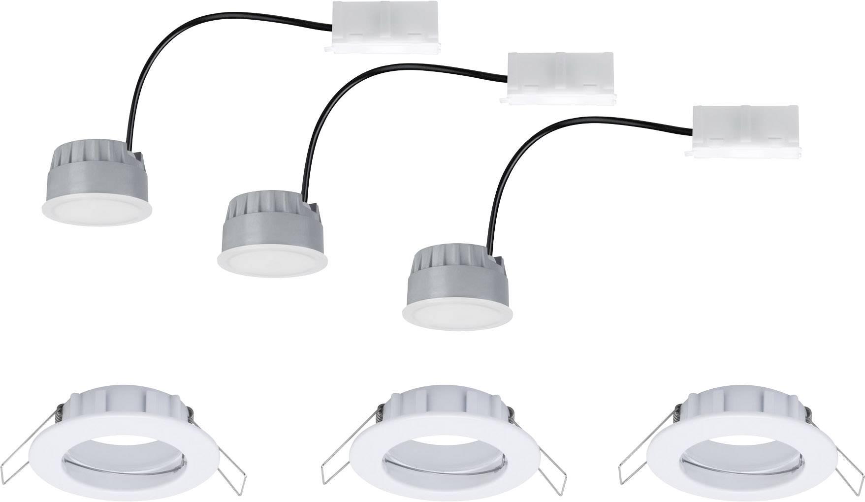 Spot LED encastrable pour salle de bains LED intégrée Paulmann Coin 93956  blanc chaud 21 W blanc mat jeu de 3