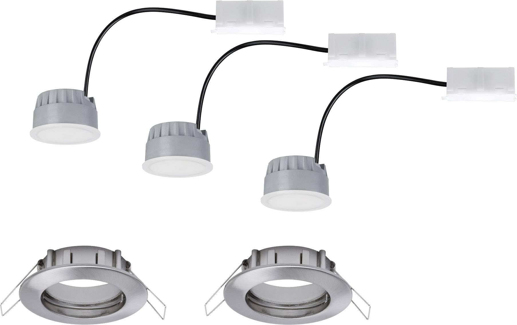 Spot LED encastrable pour salle de bains LED intégrée Paulmann Coin 93958  blanc chaud 21 W fer (brossé) jeu de 3