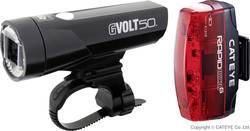 Kit d'éclairage pour vélo Cateye GVOLT50 + RAPID MICRO G LED à batterie noir, rouge
