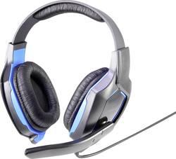 Micro-casque de gaming supra-aural filaire Renkforce RF-GHD-100 bleu-noir