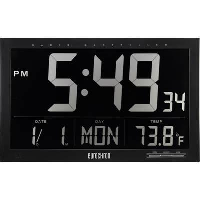 Horloge murale Eurochron EFWU Jumbo 101 370 mm x 230 mm x 30 mm noir  radiopiloté(e) écran négatif 1 pc(s)