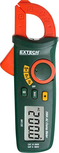 Pince ampèremétrique Extech MA130 numérique Etalonné selon: d'usine (sans certificat) CAT III 300 V, CAT II 600 V Affic