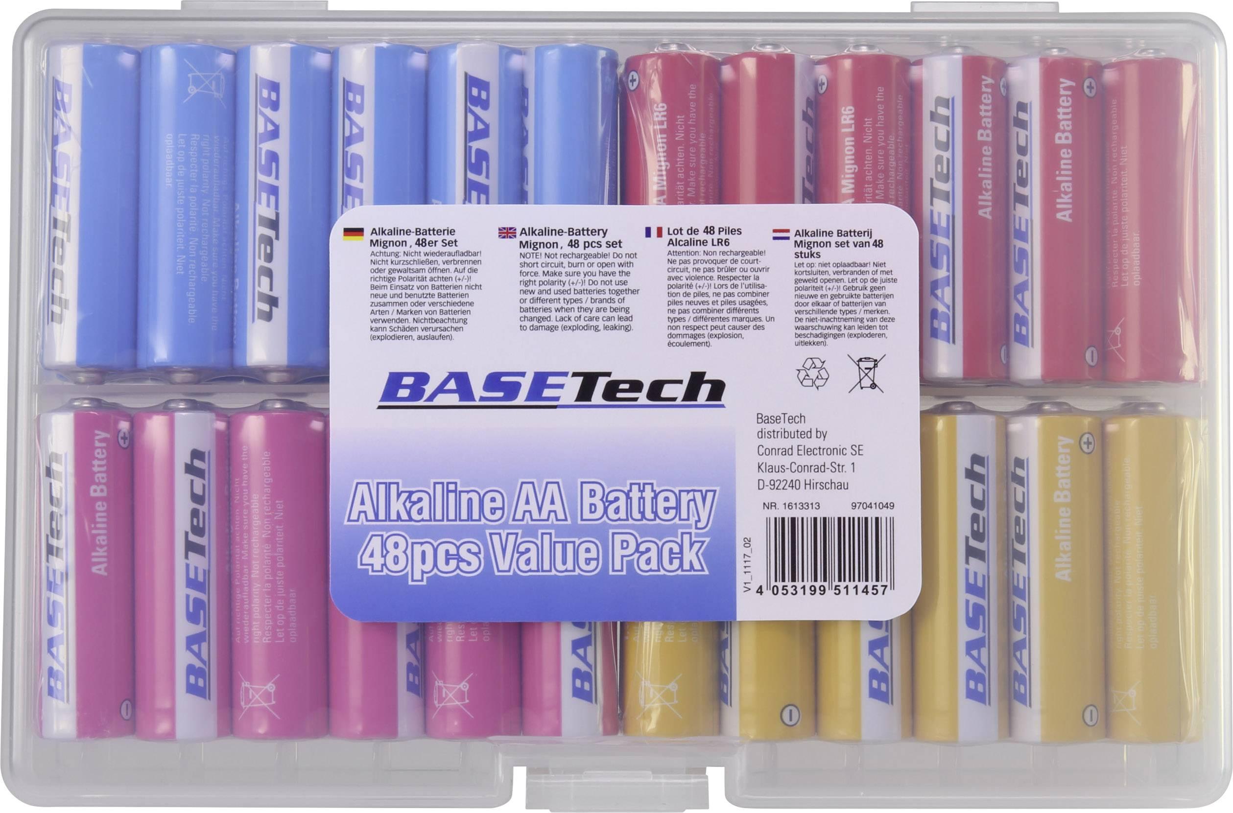 s AA 2650 mAh 1.5 V 48 pc Basetech 1613313 alcaline Pile LR6 s