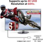 Câble USB 3.1 type C 1.2 m sur adaptateur Displayport 1.2 UHD 4K 60Hz Club 3D