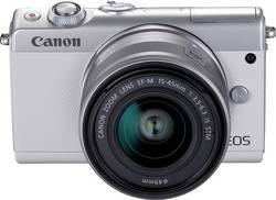 Appareil photo hybride Canon EOS M100 15-45&55-200 MM Kit 24.2 Mill. pixel blanc WiFi, Bluetooth, écran pliable, écran