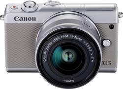 Appareil photo hybride Canon M100 15-45&55-200 MM Kit 24.2 MPix blanc WiFi, Bluetooth, écran pliable, écran tactile, v