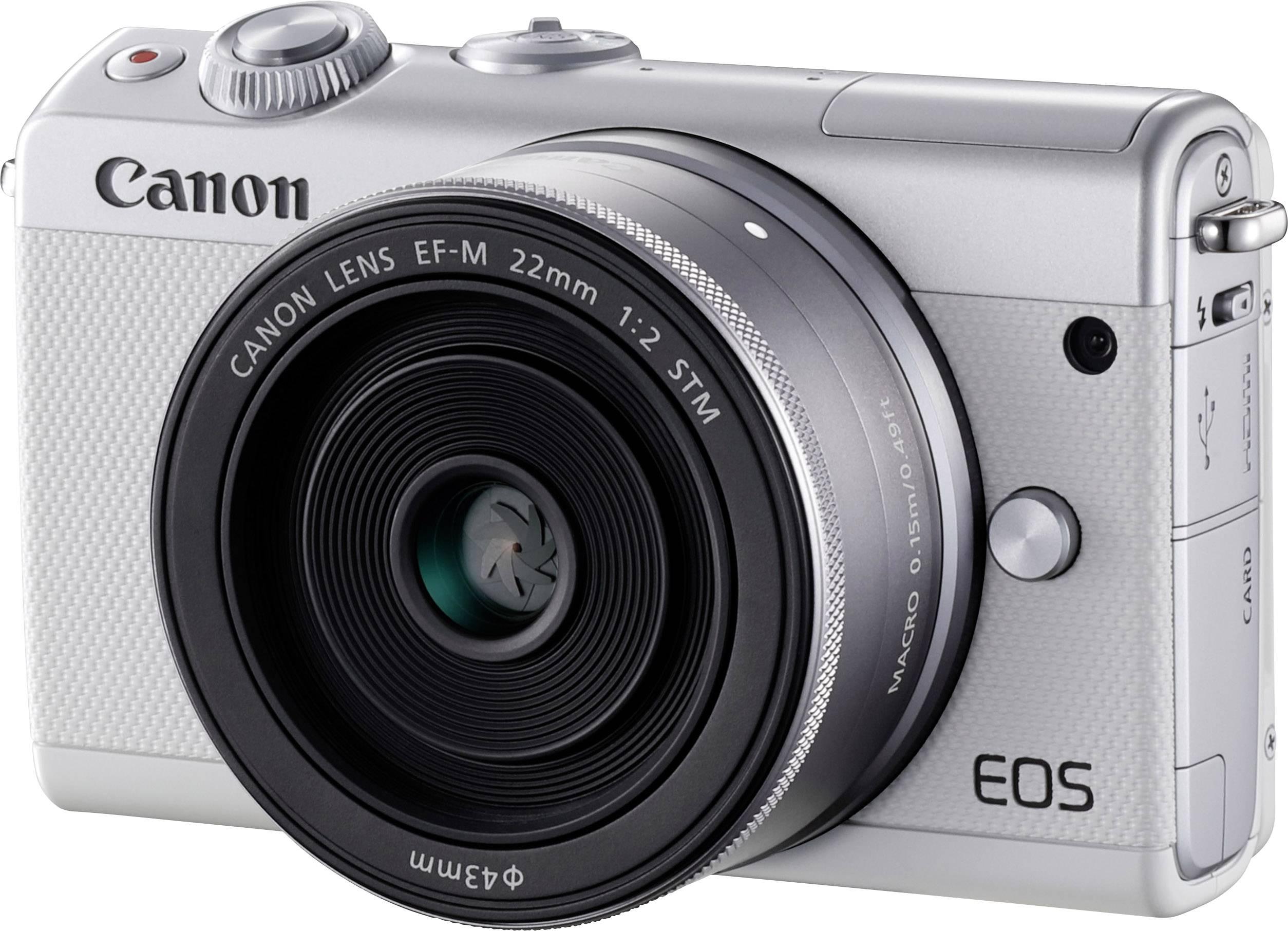 e69a22b9e7e630 Appareil photo hybride Canon EOS M100 24.2 Mill. pixel blanc WiFi,  Bluetooth, écran