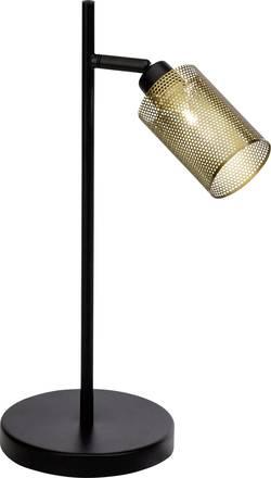 Lampe de table Brilliant Mesh 20 W pivotable, inclinable, avec interrupteur noir, laiton antique (brossé)